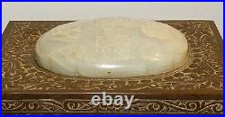 Rare Old Huge Chinese Carved White Dome Jade Metal Bronze Humidor Box