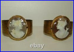 Rare Pair Of Antique Early Victorian Carved Shell Cameo Bangles, Goddess Victoria