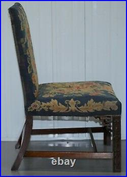 Rare Pair Of Thomas Chippendale Period 1760 Embroidered Chairs Ornately Carved