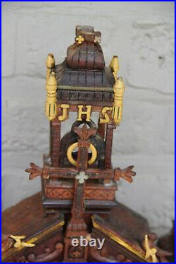 Rare Religious neo gothic oratory Black forest wood carved 1888 saint statue