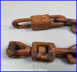 Rare Sailor Carved Wooden Chain Whimsey with Heart Dated 1794