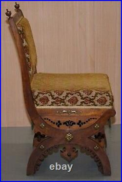 Rare Set Of Six Gothic Revival Ornately Carved Walnut Gilt Metal Fittings Chairs