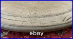 Rare Small Antique Carved Wood English Round Breadboard Chopping Board