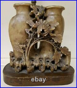 Rare Stone Antique Chinese / Japanese Asian Handmade Vase Carved Table LAMP