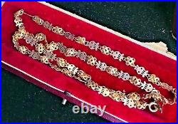 Rare Victorian Era Antique Harps Links Carved 14k Gold Plated Chain