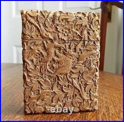 Rare Victorian Stunning Chinese Export Sandal Wood Carved Elephant Card Case