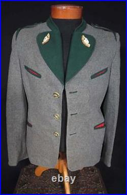 Rare Vintage 1950's Grey And Green Wool Tyrolean Jacket Carved Antler Size Small