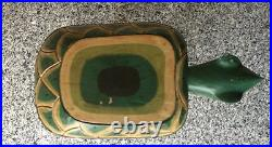 Rare Vintage TURTLE WOOD STOOL Hand CARVED PAINTED Exotic Tropical ARTISAN DECOR