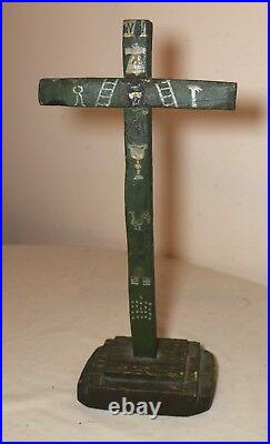 Rare antique 1700s hand carved polychromed wood applied wax altar crucifix cross