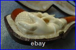 Rare antique carved meerschaum tobacco pipe hand holding thistle