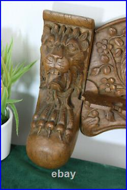 Rare antique wood carved gothic kitchen hanging rack tools lion satyr head