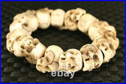 Rare old Chinese antler hand carved skull statue cool bracelet collectable gift