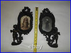 Spectacular Rare Antique Black Forest Hand Carved Picture Frames With Cherubs