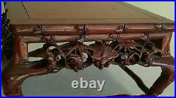 Superb Rare Old Chinese Hand Carved Rose Wood Detailed Bamboo Stand 8 1/2 Width