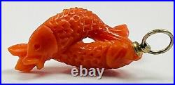 Ultra Rare Vintage Antique Hand Carved Real RED CORAL KOI Fish Charm Pendant