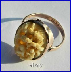 Unusual Rare Victorian 9ct Gold Oval Carved Ring Chinese Scene Depicting Figures