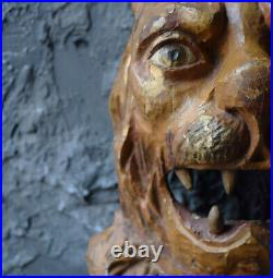 Very Rare 1880 Hand Carved Folk Art Lions Head From Hunting Lodge Schloss Ambras