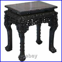 Very Rare 19th Century Hand Carved Qing Dynasty Chinese Hongmu Jardiniere Stand