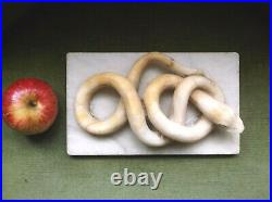 Very Rare Antique 18th C Large Carved Indian Alabaster Coiled Snake Paperweight