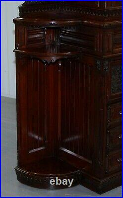 Very Rare Hand Carved Walnut Victorian Cabinet With Drawers Cupboards 188cm Tall