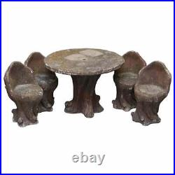 Very Rare MID Century Circa 1950's French Faux Bois Garden Table & Four Chairs