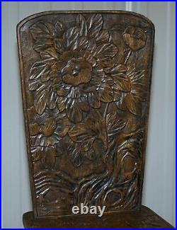 Very Rare Original Liberty's London Signed Qing Dynasty Chair Floral Carving