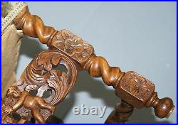 Very Rare Pair Of 18th Century Fruitwood Heavily Carved Chair Cherubs Crown
