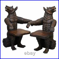 Very Rare Pair Of Original Early 20th Century Black Forest Wood Bear Armchairs