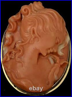 Victorian Antique 18k Gold Salmon Coral Cameo Necklace / Brooch Hand Carved Rare