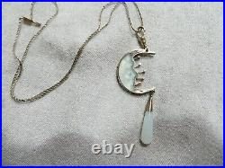 Victorian RARE Crescent Moon Face Mate Carved Glass withTeardrop Pendant/Necklace