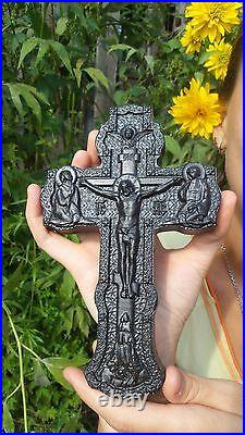 Wooden Carved Cross Bog Oak antique wood. Orthodox. Rare. Free ship to worldwide