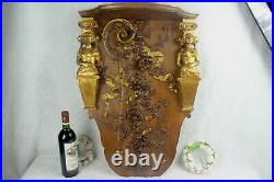 XL Antique French wood carved Caryatid figurine wall console plaque relief rare