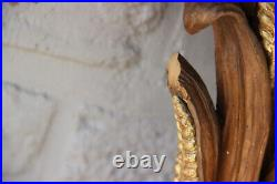 XL French antique rare wheat sheaf wood carved wall console